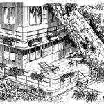 Balkon i taras połączone baldachimem pnącej zieleni
