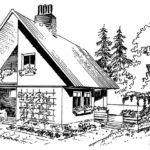 Domek jednorodzinny z tarasem i loggią w szczycie budynku