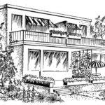 """Przykład domu """"bliźniaka"""" z tarasem górnym i dolnym"""
