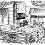 Przykład tarasu oddzielonego od reszty ogrodu drewnianą balustradą