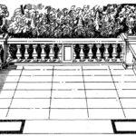 Taras na wysokości I piętra w budynku pałacowym