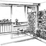 Rośliny ozdobne umieszczone na kratkach - loggia